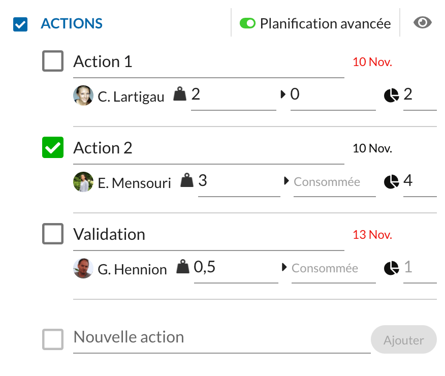 The Actions feature, a two-tiered option for organising the operational side of your projects