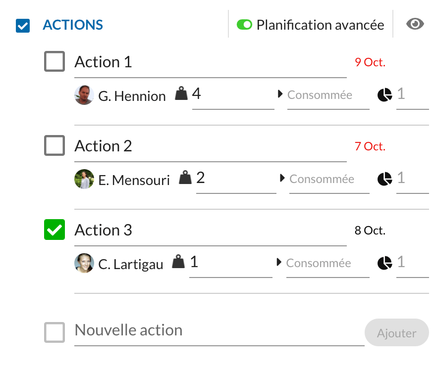 Operational task management and checklists within the Actions function
