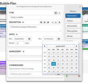 La fonction Dates incluse dans les bulles projets de Bubble Plan
