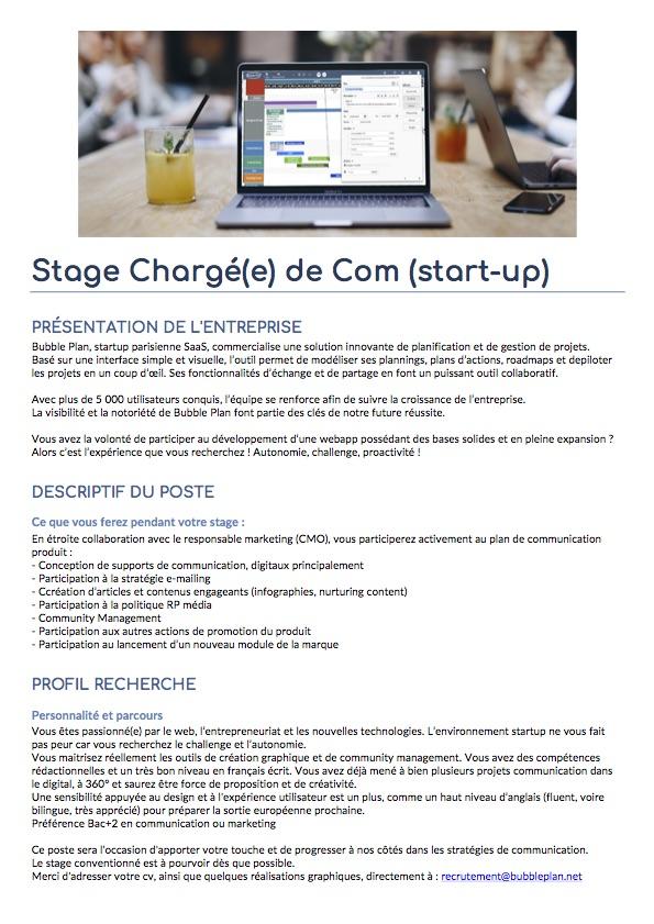 Annonce complète Stage Communication chez Bubble Plan