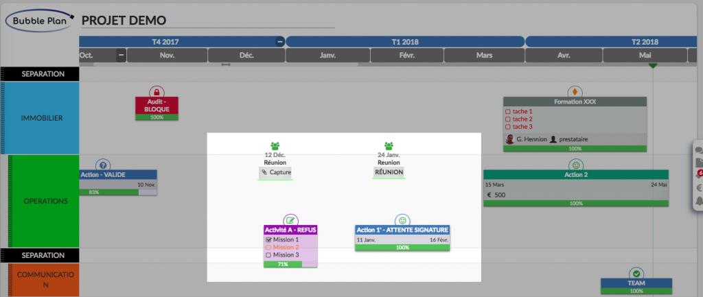 Vue d'une sélection multiple sur Bubble Plan - Planification accelérée