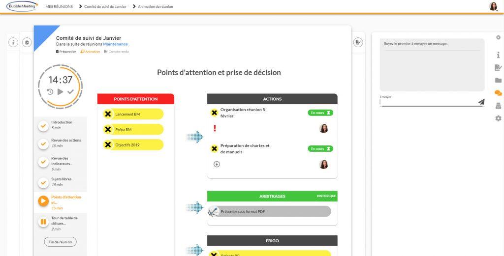 Module d'animation de réunion avec Bubble Meeting