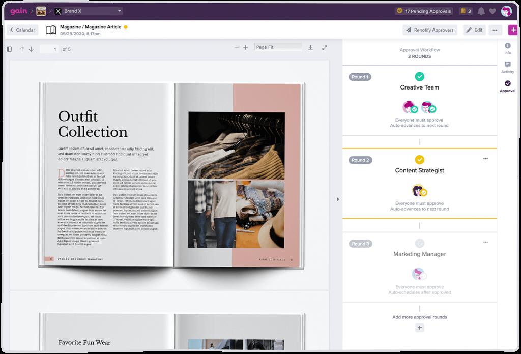 workflow gain magazine en création
