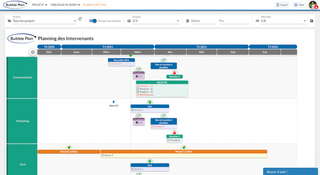 planning intervenants gestion équipe