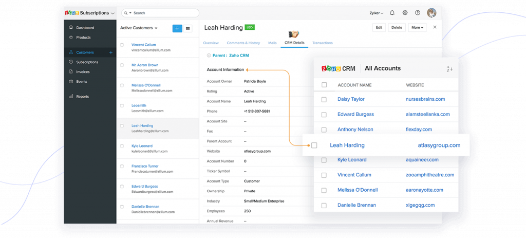 interface zoho crm