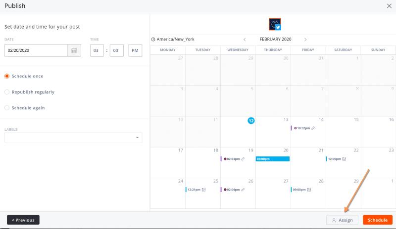 Vue calendrier Agorapulse