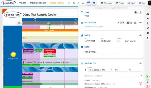 Illustration de la fonction Ordonnancement de Bubble Plan, le logiciel de gestion de projet